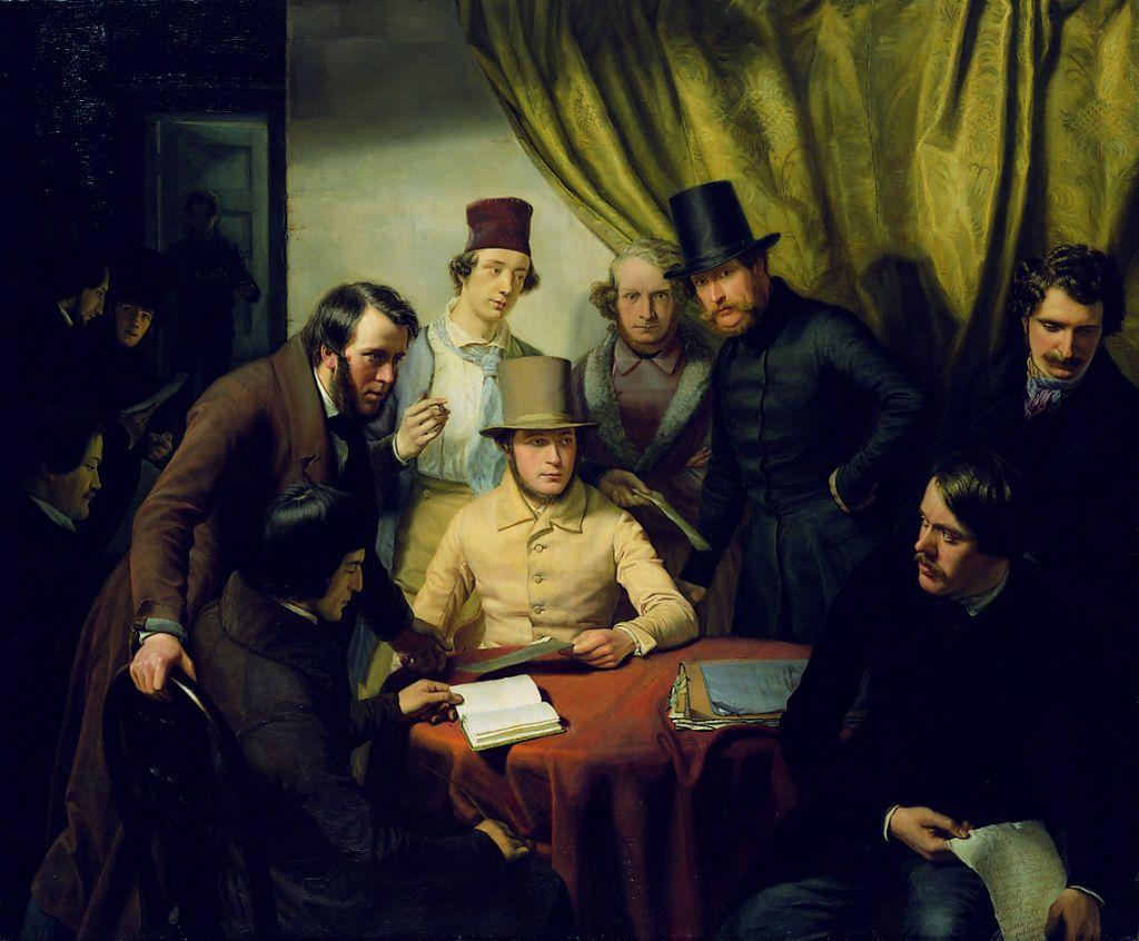"""""""Jacob Gensler inmitten des Hamburger Künstlerverein von 1832"""", Günther Gensler, 1840"""