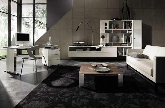 moderne wohnzimmermöbel helles design dunkelgrauer floraler - moderne teppiche fur wohnzimmer