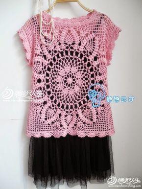 Katia Ribeiro Moda   Decoração Handmade  Blusa em crochê com gráfico ... 31ce66e16e0
