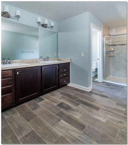 new bath room gray cabinets wood floor ideas   wood tile