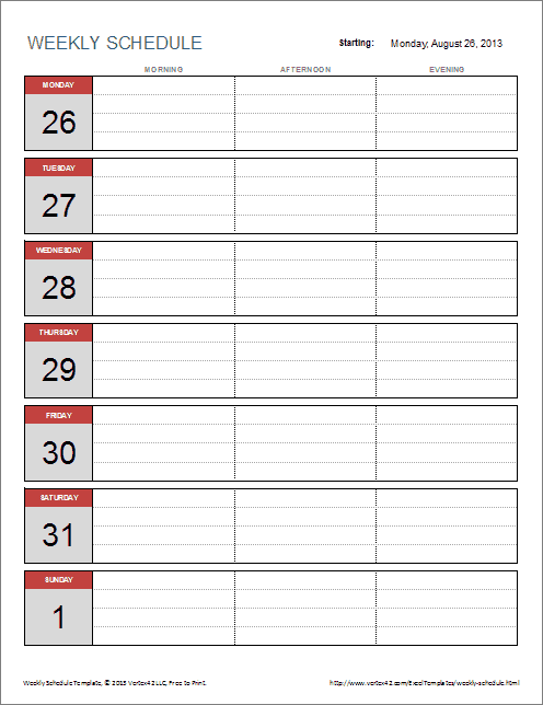 Weekly Schedule Template For Excel  Make It PlannerFilofax