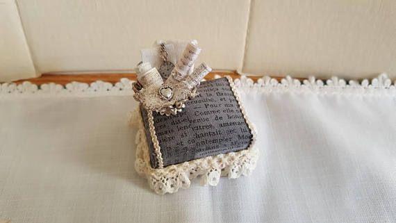 Grigio Imbottito Poggiapiedi miniature casa delle bambole scala 1.12
