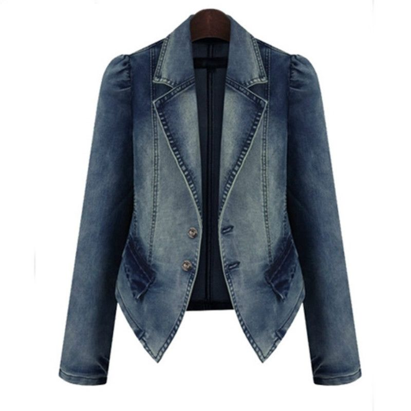 1422d166267 Spring Autumn Jeans Jacket Women Big Size XL-5XL Denim Coat Long Sleeved  Fashion Slim