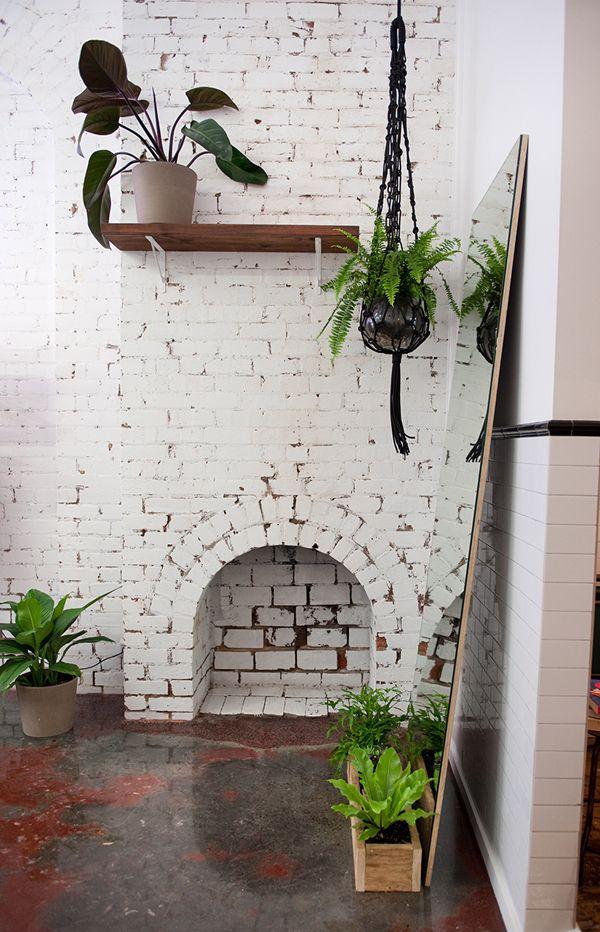 B L O O D A N D C H A M P A G N E White Brick Painted Brick Indoor Plants