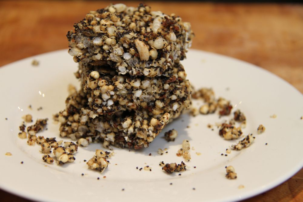 Gluten free muesli slice with poppy seeds and carob kibble