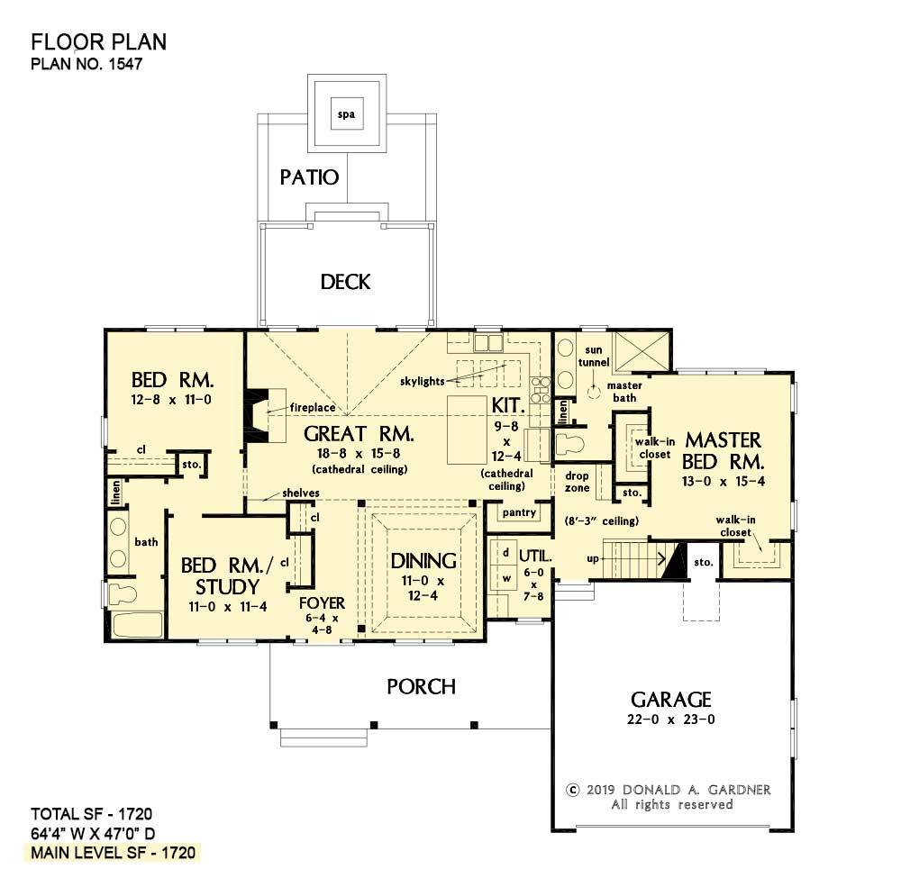 Modest Floor Plans One Story Home Plans Don Gardner In 2020 Floor Plans House Plans Unique Small House Plans