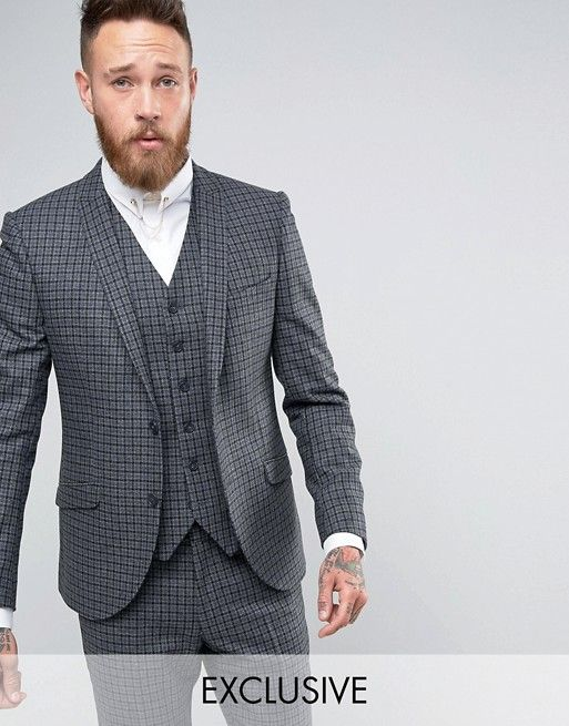 86154ae38a6d Heart & Dagger Skinny Grey Suit In Check | jackson - Y10 formal in ...