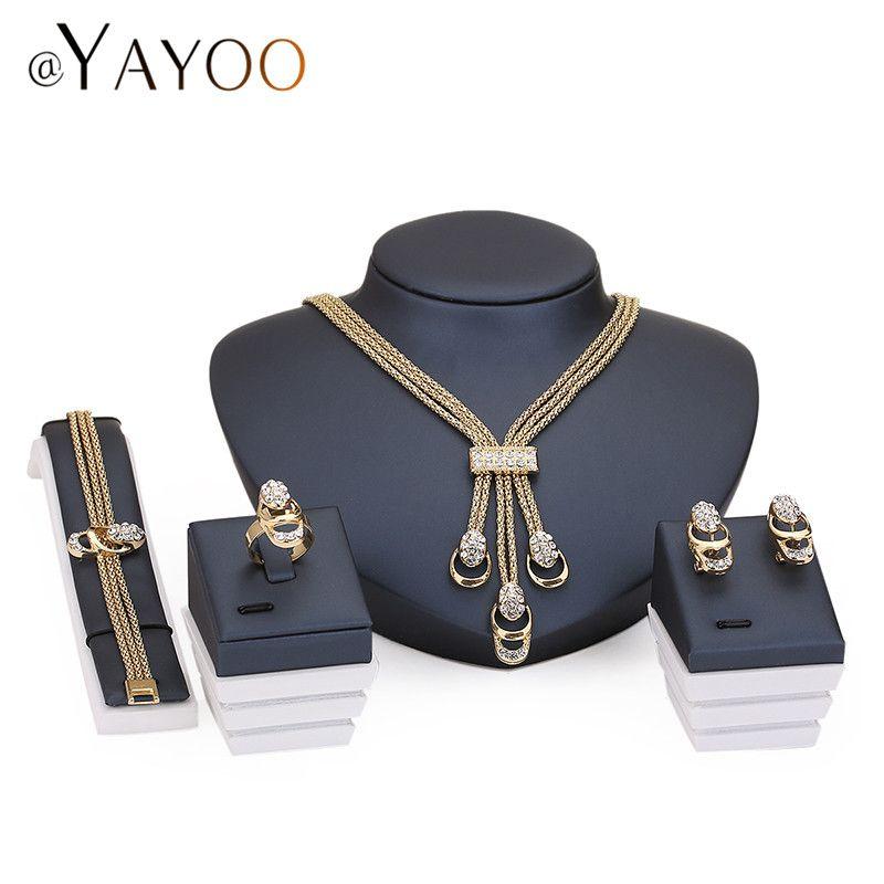 Sistemas de la joyería Para Las Mujeres Del Partido Accesorios de La Borla de Declaración Colgante Collar Pendientes Pulsera de Perlas de Imitación de Cristal Anillos set
