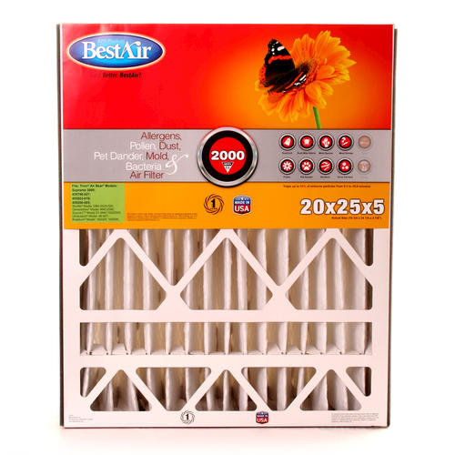 "BestAir® 20"" x 25"" x 5"" MERV 11 Pleated Air Filter Menards"