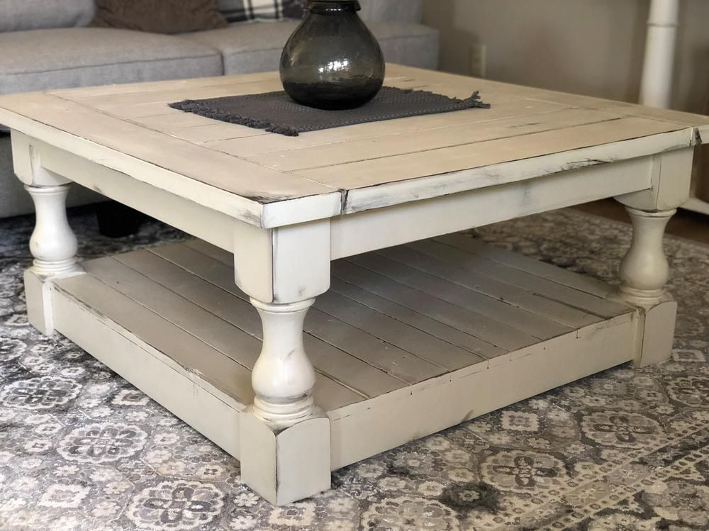 Rustic Baluster Farmhouse Coffee Table Distressed In 2020 Solid