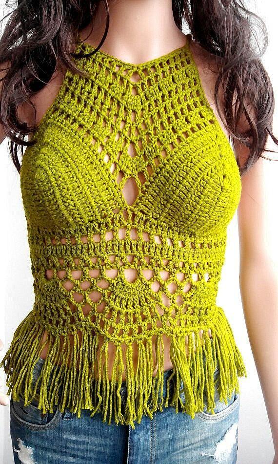 CROCHET CROP TOP Sandy Beach Clothes Crop Top Boho Hippie Fringed Crochet Top Crochet Halter Top Cotton Halter Hippie Fringes Nude 202