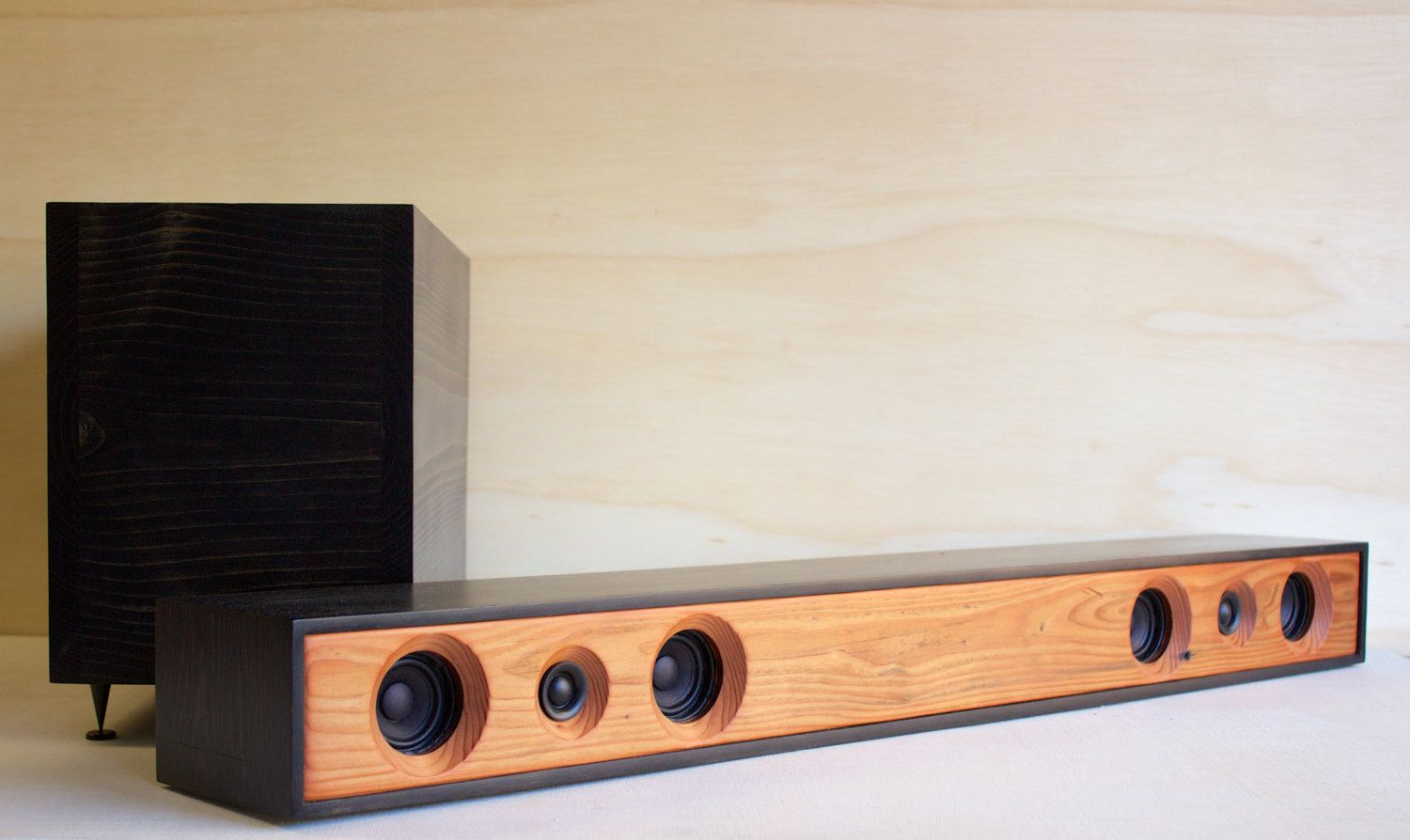 Theater system reclaimed redwood with ebony stained - Home theater sound system design ...