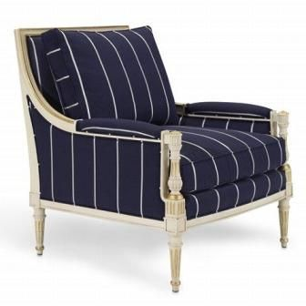 Love This Navy With Pinstripe Fabric With Washed Out Gray