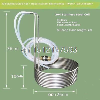 8 8m Stainless Steel Coil Cooler Wort Immersion Chiller Beer
