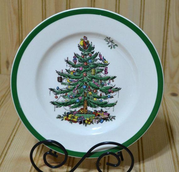 Vintage Spode Christmas Tree Salad Plate by grannysbackporchvint - Vintage Spode Christmas Tree Salad Plate England S3324P Holiday