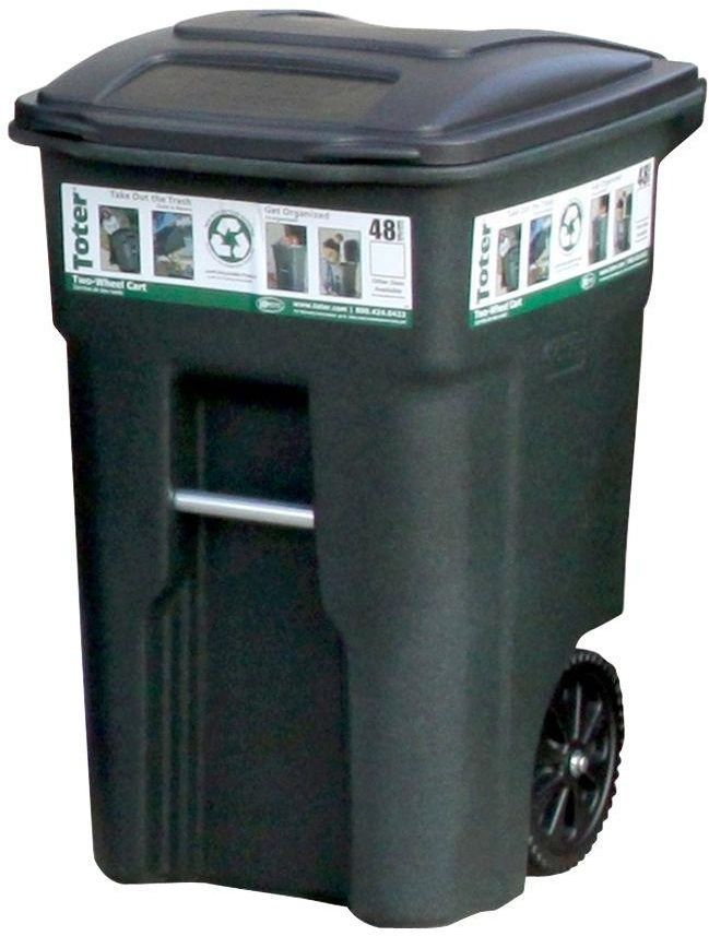 Outdoor Trash Can With Wheels Toter Curbside Heavy Duty 48 Galgreen Wheeled Garbage Trash Can