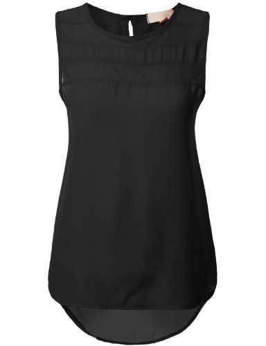 J.TOMSON Womens Sleeve Less Chiffon Sheer Blouse