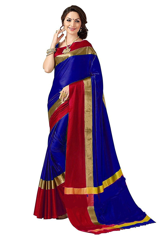 a15215de42 Perfectblue Cotton Silk Saree (Pb0Mainbluepinkvisva Blue)  Amazon.in   Clothing   Accessories