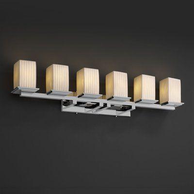 Justice Design Group POR 8686 15 6 Light Limoges Montana Bathroom Light  In