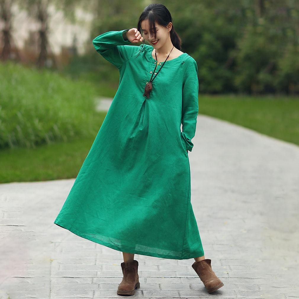Women casual round neck long sleeve green long dress mfit for eu