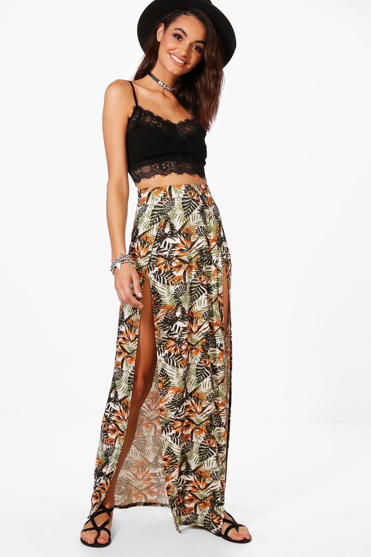 a88964a038 Jessica Tropical Print Double Split Maxi Skirt | Summer style | Long ...