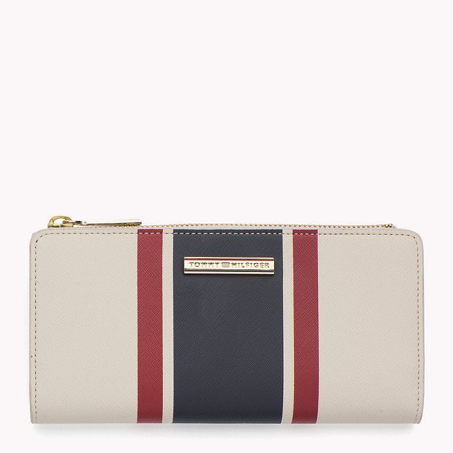 Tommy Hilfiger Portefeuille Rayé En Cuir Saffiano - turtle dove / midnight  / scooter red (