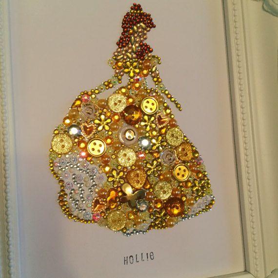 Belle Beauty & The Beast Disney Framed Swarovski button crystal ...