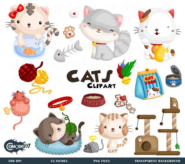 Cute Cats Clipart Feline Animal Clip Art Home Pet Free Etsy Cat Clipart Clip Art Cute Animal Clipart