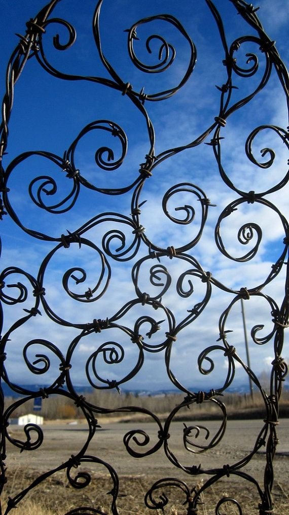 Barb Wire Trellis - amazing! i love it, but I am the one that would be wrapped up in it trying to make this!