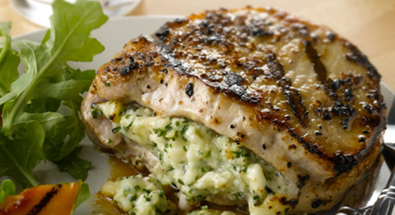 Grilled Blue Cheese Pork Chops | Recipe | Stuffed pork ...