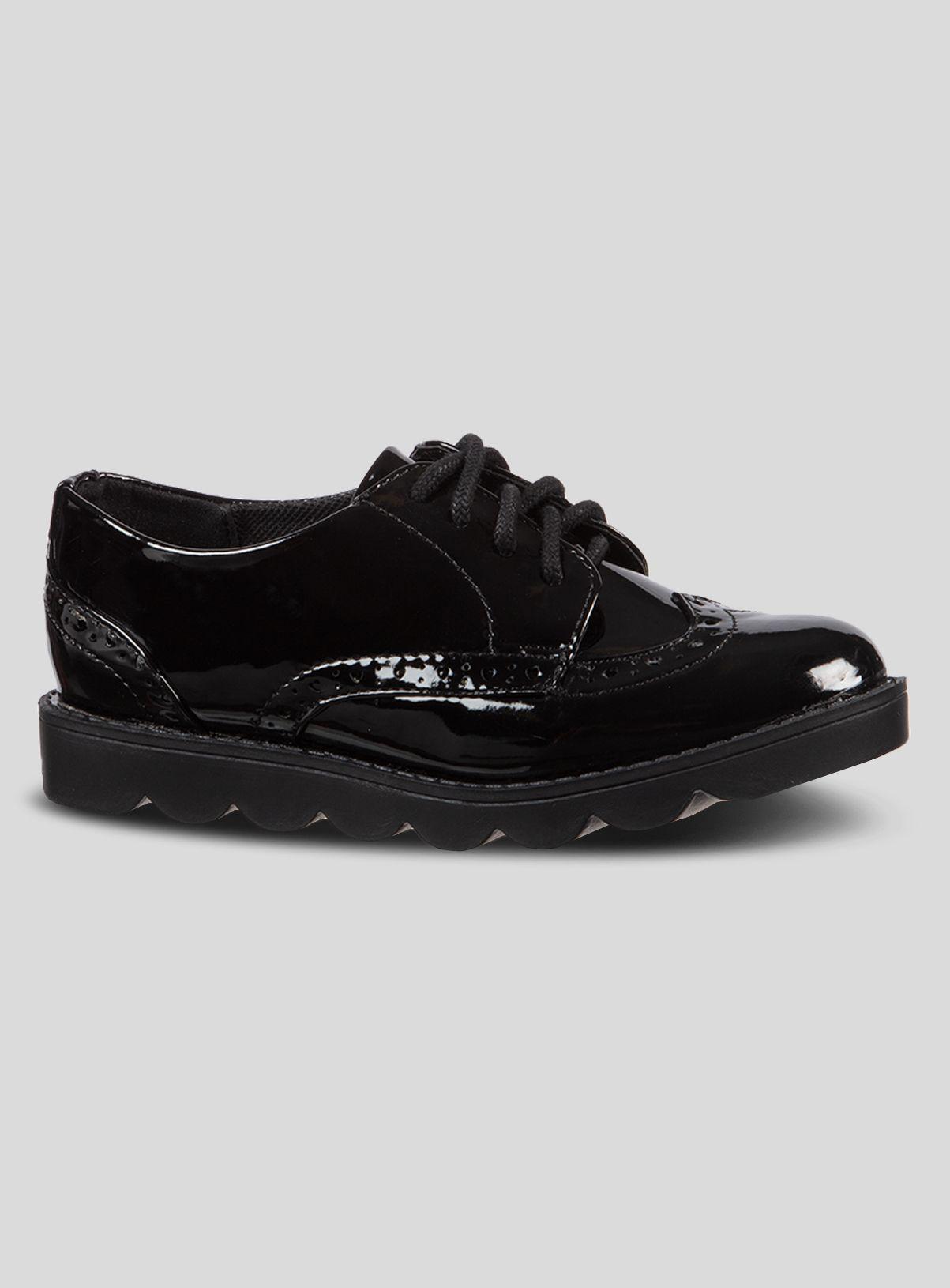 Black Bubble Sole Brogue School Shoes