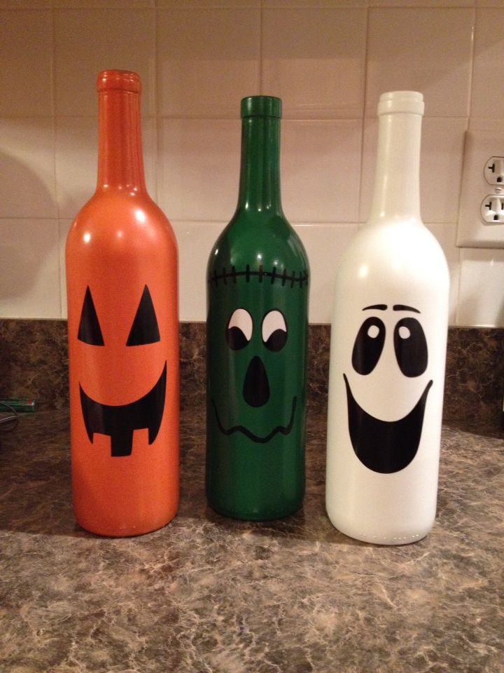 Halloween Trio Beer Bottle Crafts Bottles Decoration Wine Bottle Decor
