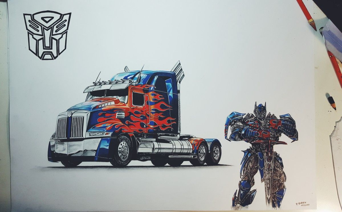 Optimus prime transformers drawing by autozeichner