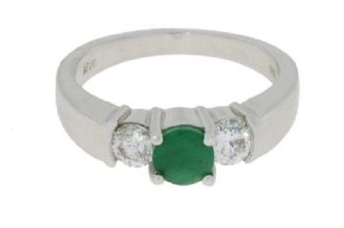 14K .95ct 3 Stone Diamond Emerald Ring
