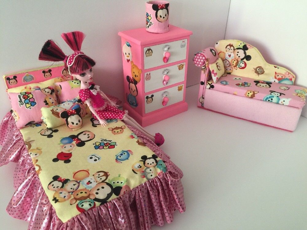 Barbie Or Monster High :furniture Bedroom Set: Bed,sofa ,chest.Tsum Tsum