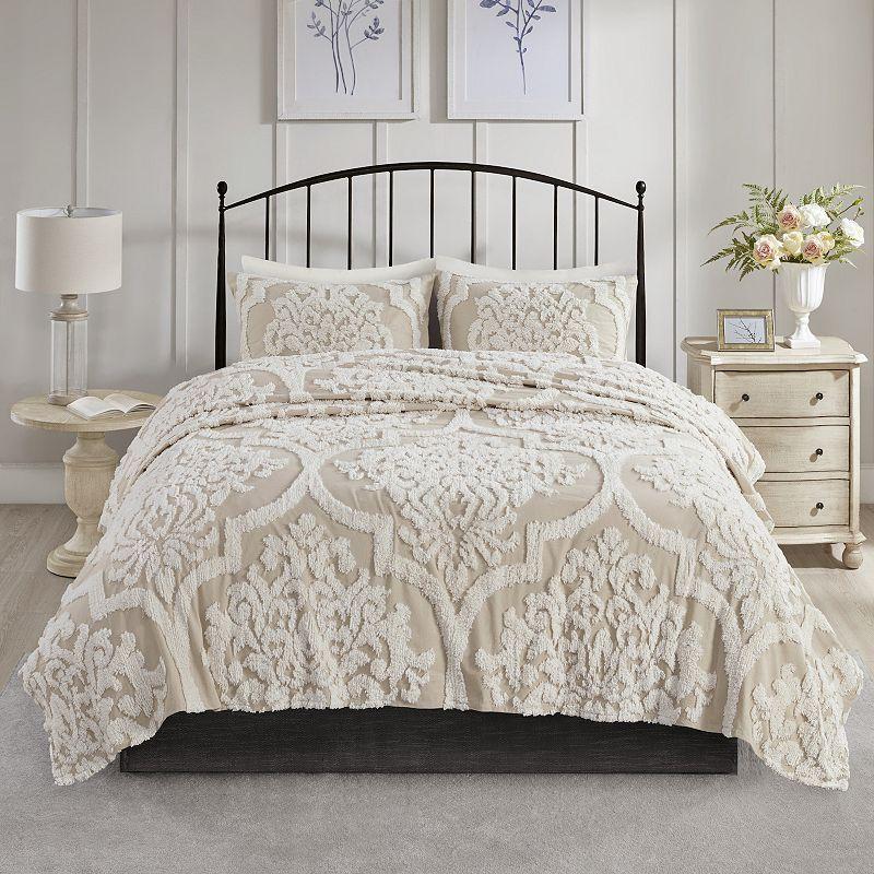 Madison Park Aeriela 3 Piece Cotton Chenille Coverlet Set Damask Duvet Covers Comforter Sets Duvet Cover Sets