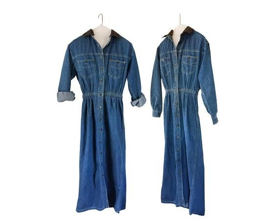 85a434d939a Vintage Denim Dress Blue Jean Dress Button Up Dress Button Down Dress 90s  Dress Long Sleeve Dress De