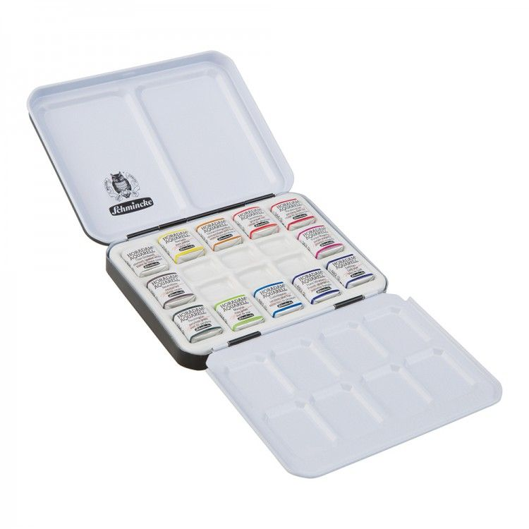 Schmincke Horadam Watercolour Porcelain Palette Metal Set 12