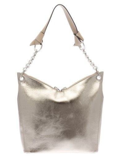 Jimmy Choo Woman Studded Metallic Cracked-leather Shoulder Bag Platinum Size Jimmy Choo London NqiBHnXmG5