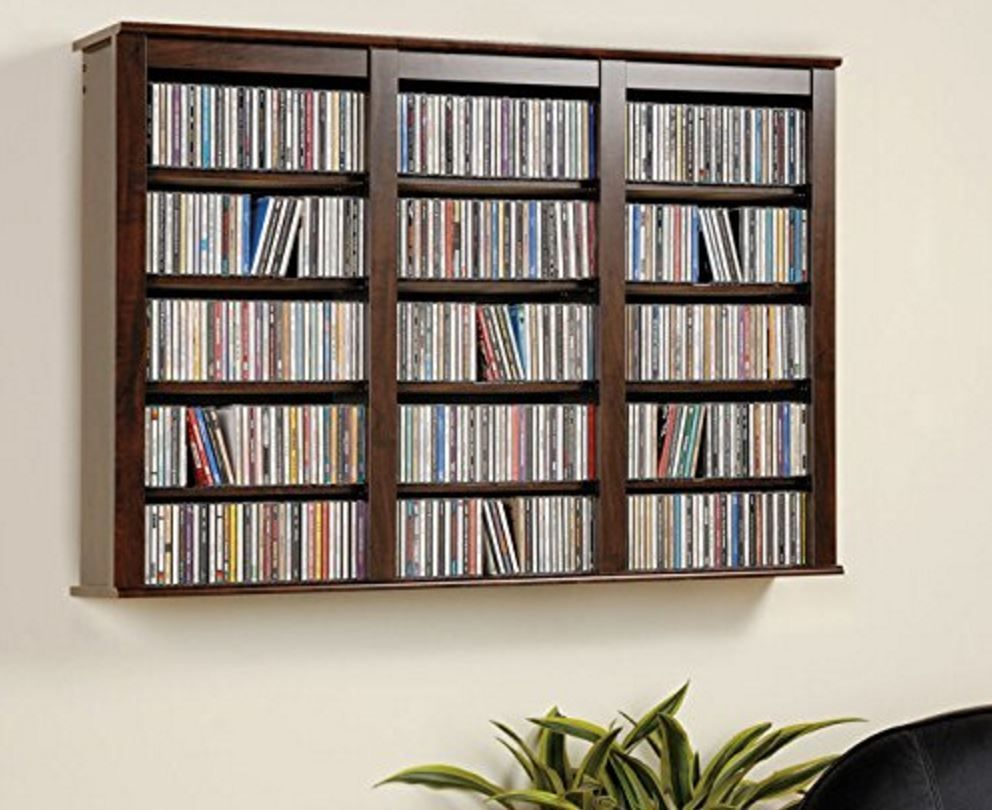 Storage wood floating media shelves design - Media Shelves Wall Mounted Storage Dvd Movie Video Mount Rack Shelf Organizer