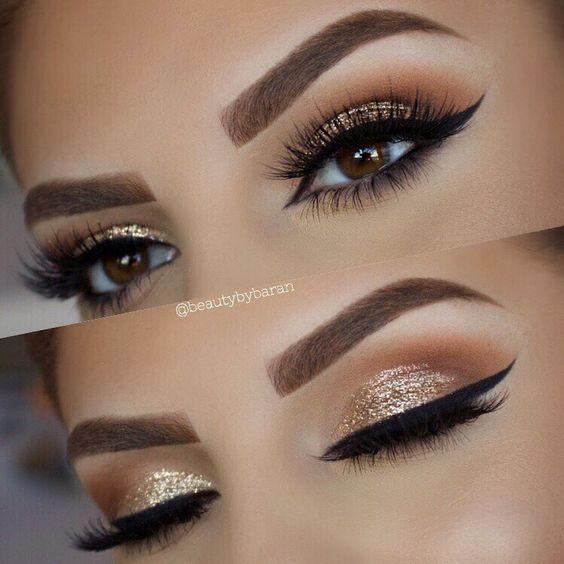 Eye Makeup Gold Glitter Look