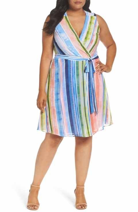 Eci Stripe Faux Wrap Dress Plus Size Resort Wear Pinterest