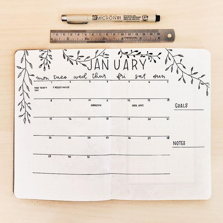 "Haley ⚓︎ bullet journal on Instagram: ""January monthly log 🗓 I really am enjoying this clean and simple layout! How's your week going? 💕 . . . #bulletjournal #bulletjournaling…"""