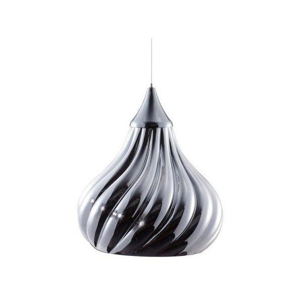 Viso Ruskii Twist Pendant Light (£265) ❤ liked on Polyvore featuring home, lighting, ceiling lights, white pendant light, white lights, chrome lighting, chrome pendant lights and black pendant light