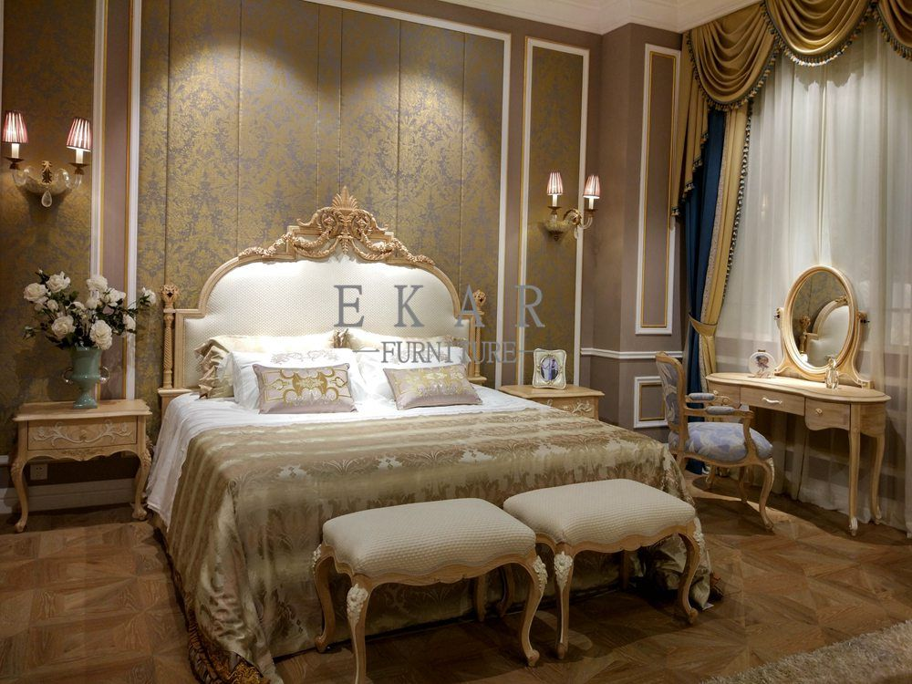 French Luxury Style Off White And Golden Queen Bed Beds Bed Furniture Design Off White Bedrooms Luxury Master Bedroom Design