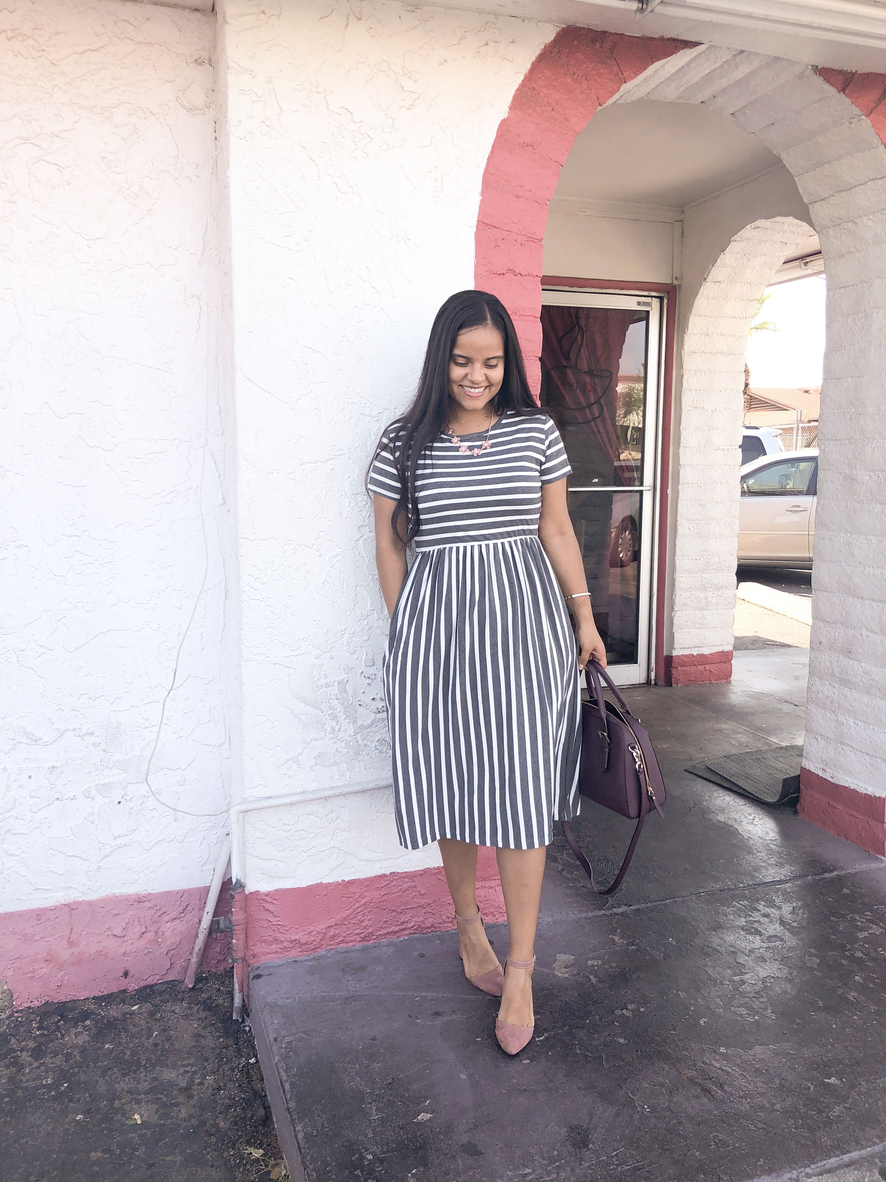 Dress is from @Tickledteal #sundaybest #dresses #stripes #churchoutfit
