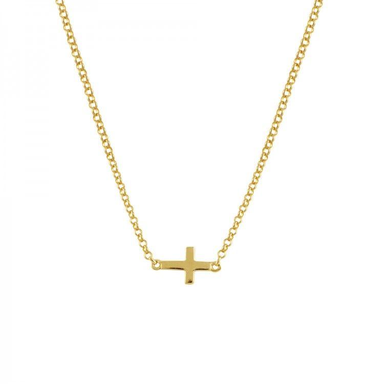 d2f3a5fdb76c Cadena con colgante cruz en plata oro