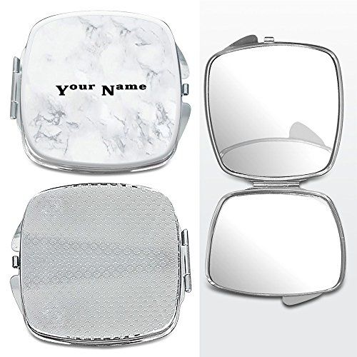 Photo of Personalized NAME White & Gray Marble Printed Foldable Makeup Mirror (Square) – 0068: Amazon.co.uk: Beauty