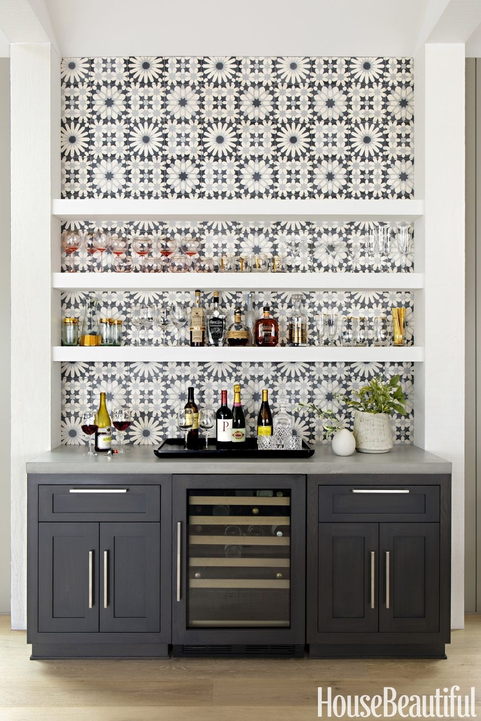 Gray Kitchen Bar With Tile Backsplash But I Would Want Teal Instead Of Grey Cabinets