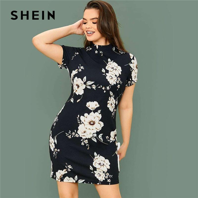 Oferta Aliexpress Shein Vestido Cenido De Talla Grande Con Estampado Floral Y Cuello Mock Par En 2020 Vestidos Cortos Elegantes Vestido Cenido Vestidos De Mujer